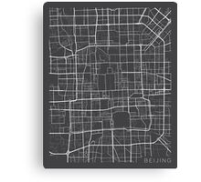 Beijing Map, China - Gray  Canvas Print