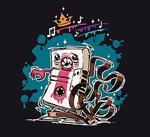 Cartoon Audio Cassette Tape on Dark Background by Voysla