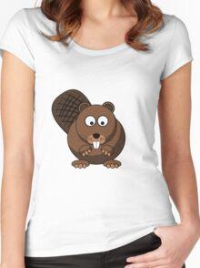 Cartoon Beaver Women's Fitted Scoop T-Shirt
