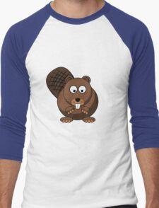 Cartoon Beaver Men's Baseball ¾ T-Shirt