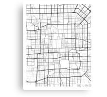 Beijing Map, China - Black and White Canvas Print