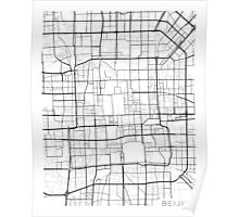 Beijing Map, China - Black and White Poster