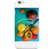Apricots on a blue table iPhone Case/Skin