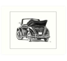 Volkswagen Beetle Type 1 Pencil Drawing Art Print Signed Art Print