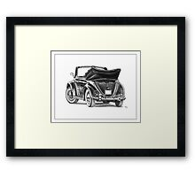 Volkswagen Beetle Type 1 Pencil Drawing Art Print Signed Framed Print