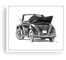 Volkswagen Beetle Type 1 Pencil Drawing Art Print Signed Canvas Print