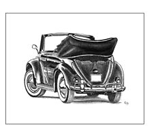 Volkswagen Beetle Type 1 Pencil Drawing Art Print Signed Photographic Print