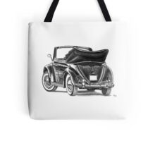 Volkswagen Beetle Type 1 Pencil Drawing Art Print Signed Tote Bag