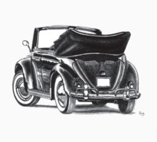 Volkswagen Beetle Type 1 Pencil Drawing Art Print Signed by roudyb