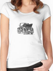 Volkswagen Beetle Type 1 Pencil Drawing Art Print Signed Women's Fitted Scoop T-Shirt