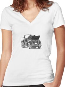 Volkswagen Beetle Type 1 Pencil Drawing Art Print Signed Women's Fitted V-Neck T-Shirt
