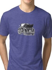 Volkswagen Beetle Type 1 Pencil Drawing Art Print Signed Tri-blend T-Shirt