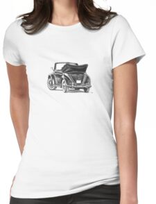 Volkswagen Beetle Type 1 Pencil Drawing Art Print Signed Womens Fitted T-Shirt