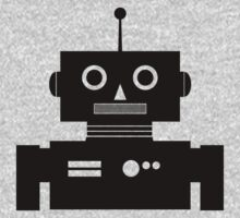 Retro Robot Shape BLK Kids Tee