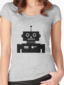 Retro Robot Shape BLK Women's Fitted Scoop T-Shirt