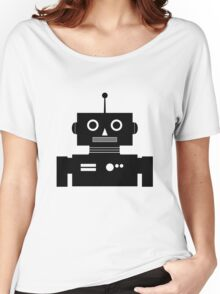 Retro Robot Shape BLK Women's Relaxed Fit T-Shirt