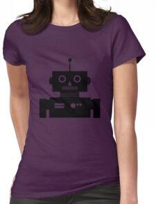 Retro Robot Shape BLK Womens Fitted T-Shirt