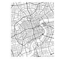 Shanghai Map, China - Black and White Photographic Print