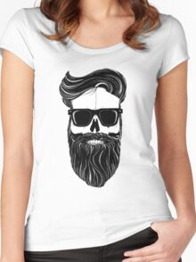Ray's black bearded skull  Women's Fitted Scoop T-Shirt