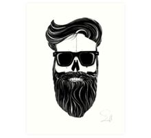 Ray's black bearded skull  Art Print