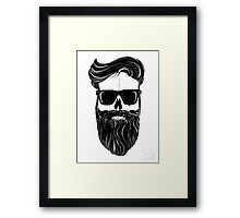 Ray's black bearded skull  Framed Print
