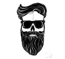 Ray's black bearded skull  Photographic Print