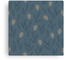Floral blue seamless pattern with yellow tulips Canvas Print
