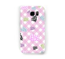 Cute,patch work on pale pink,white plaid pattern,girly,kid,kids Samsung Galaxy Case/Skin