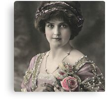 Beautiful,vintage,victorian,young lady,rustic,photo,pretty,cute Canvas Print