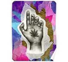 Hemp Leaf on Palm Poster