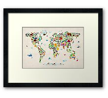 Animal Map of the World Framed Print