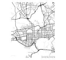 Shenzhen Map, China - Black and White Photographic Print