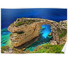 The rocky arch of Trypitos - Paxos island Poster