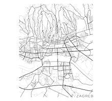 Zagreb Map, Croatia - Black and white Photographic Print