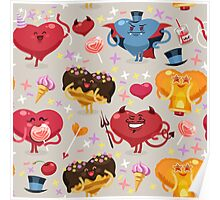 Valentines hearts pattern Poster