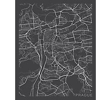 Prague Map, Czech Republic - Gray Photographic Print
