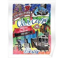 Chicago Collage Watercolor Poster