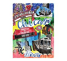 Chicago Collage Watercolor Photographic Print