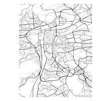 Prague Map, Czech Republic - Black and White Photographic Print