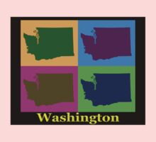Colorful Washington State Pop Art Map Kids Clothes