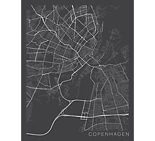 Copenhagen Map, Denmark - Gray Photographic Print