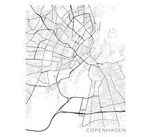 Copenhagen Map, Denmark - Black and White Photographic Print