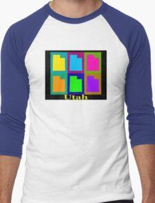 Colorful Utah State Pop Art Map Men's Baseball ¾ T-Shirt