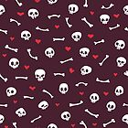 Cartoon Skulls with Hearts on Maroon Background Seamless Pattern by Voysla