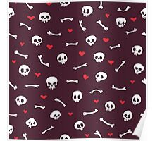 Cartoon Skulls with Hearts on Maroon Background Seamless Pattern Poster