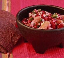 Orange Pomegranate Salsa and Blue Corn Tortilla Chips by Robert Armendariz