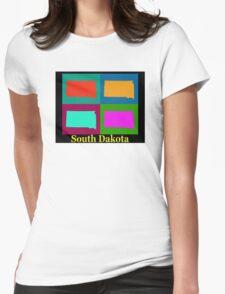 Colorful South Dakota Pop Art Map Womens Fitted T-Shirt
