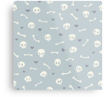 Cartoon Skulls with Hearts on Light Blue Background Seamless Pattern  Metal Print