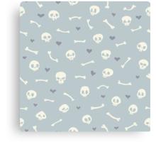 Cartoon Skulls with Hearts on Light Blue Background Seamless Pattern  Canvas Print