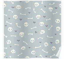 Cartoon Skulls with Hearts on Light Blue Background Seamless Pattern  Poster